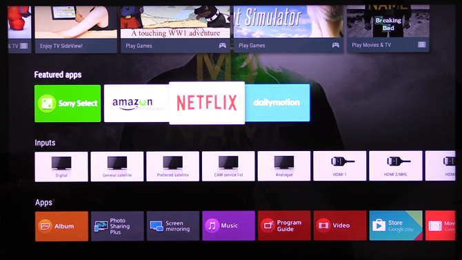 Sony Smart TV Android Interface